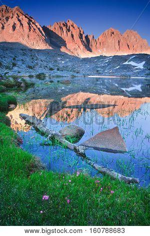 Dusy basin runs high in the Eastern sierras, california