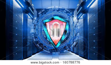 shield with padlock on the background of abstract background in data center among the rows of supercomputers