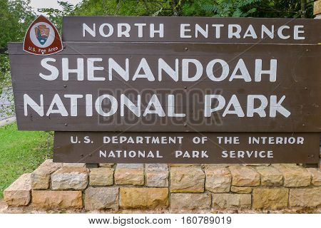 The Park Entrance of Shenandoah National Park