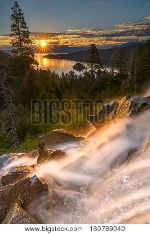 Eagle Falls is a popular waterfall in South Lake Tahoe. It's just off Highway 89.