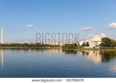 The Thomas Jefferson Memorial and the Monument