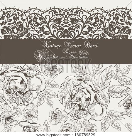 Vector Vintage Floral and lace Invitation card. Black and white Garden Roses. Festive Postcard for weddings, ceremony, events. Hand drawn engraved technique