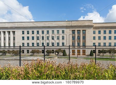 The new and the old section of the Pentagon, taken from The Pentagon Memorial