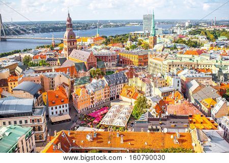 Panoramic aerial view on the old town of Riga city, Latvia