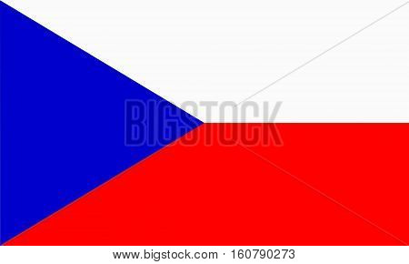 flat czech flag  in the colors blue, red and white