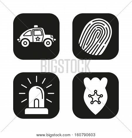 Police equipment icons set. Car, fingerprint, flasher, badge symbol. Vector white silhouettes illustrations in black squares.