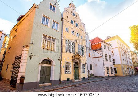 View in the famous three brothers houses in the old town of Riga, Latvia. It is the oldest complex of dwelling houses in Riga