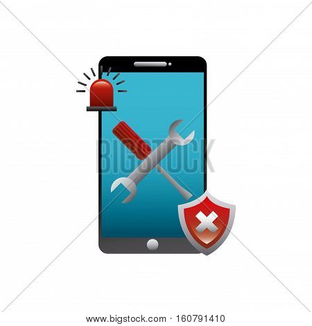 smartphone device with repairs tools and wrong shield icon over white background. technical support concept. colorful design. vector illustration