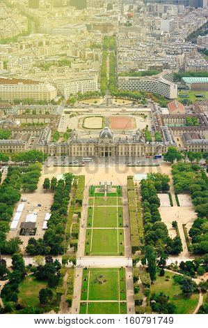 Beautiful aerial view of Champ de Mars in Paris France on a sunny day