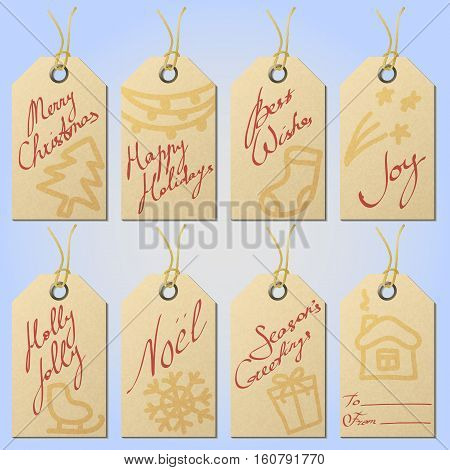 Set of textured paper Сhristmas gift tags on twine eyelets with hand drawn holiday symbols and handwritten greetings eps10 vector illustration