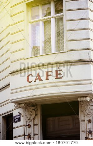 Sunny day over French cafe insignia in Vienna Austria. Useful file for your new or existing food and drink business
