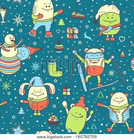 Vector Christmas seamless pattern with funny monsters, personage. Cool colorful hand drawn characters. Cartoon animals, painted doodles, Xmas and winter holidays background. Set of unusual creatures