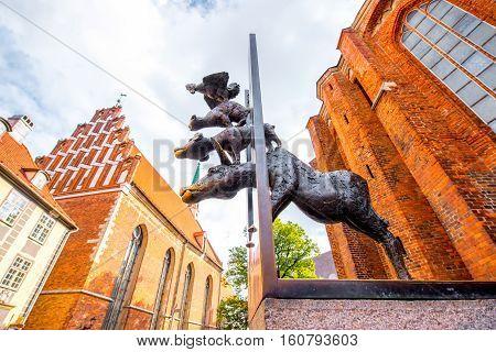 Riga, Latvia - September 23, 2016: Sculpture of Town Musicians of Bremen in Riga. Work of sculptor Christa Baumgartel, 1990.