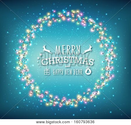 Fairy lights for festive decoration, realistic luminous bulbs. Colourful glowing Christmas round garland on blue background. Light effects for Christmas greeting cards, poster. Vector illustration
