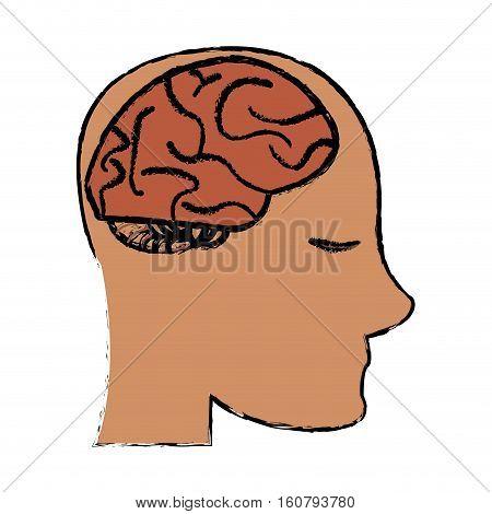 profile head brain idea imagination sketch vector illustration eps 10