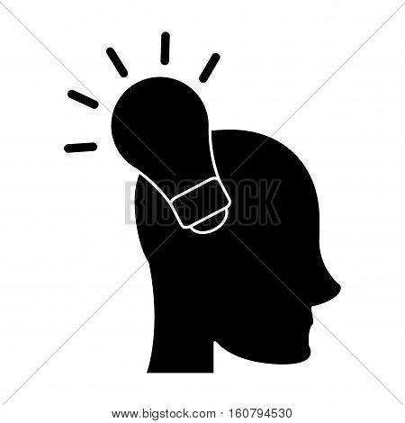 silhouette head human new idea bulb vector illustration eps 10