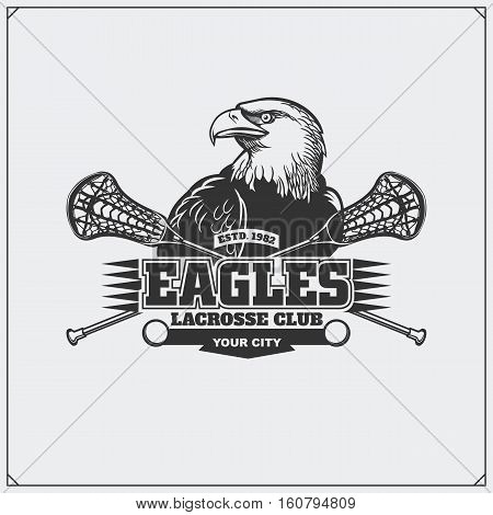 Lacrosse club emblem with eagle head. Vector illustration.