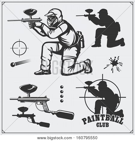 Set of paintball club labels, emblems, symbols, icons and design elements. Shooting man and paintball equipment.