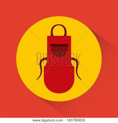 red apron kitchen accessory icon over yellow circle and red background. colorful design. vector illustration