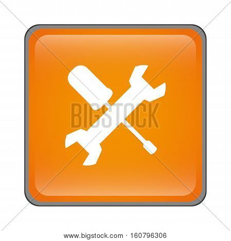 wrench and screwdriver crossed icon inside orange square over white background. repair tools design. vector illustration