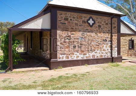 historic station master kitchen building exterior at telegraph station in alice springs of northern territory australia