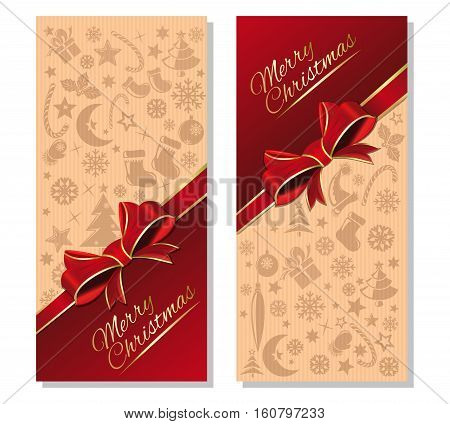 Christmas design. Christmas banners set with greeting inscription - Merry Christmas. Festive red and beige background with design elements for Christmas and New Year. Vector illustration