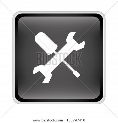 wrench and screwdriver crossed icon inside black square over white background. repair tools design. vector illustration