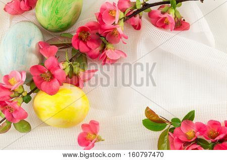 Japanese Rose Flowers And Painted Easter Eggs