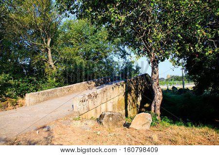 View of the Mediaeval bridge in Spain