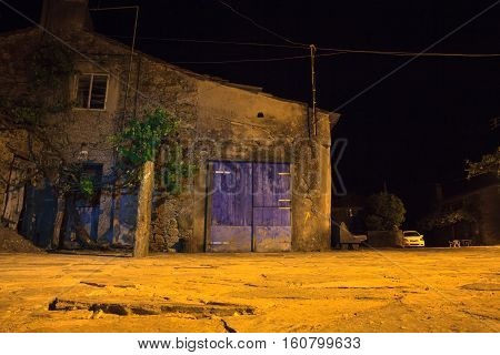 Nightview of old rural house in the little spanish town