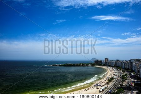 Aerial view of the Copacabana Beach and Forte de Copacabana, a military base, Rio de Janeiro, Brazil