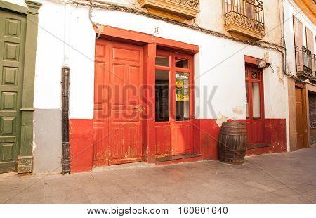 VILLAFRANCA DEL BIERZO SPAIN - AUGUST 06: Red coffee bar of Villafranca del Bierzo on August 06 2016
