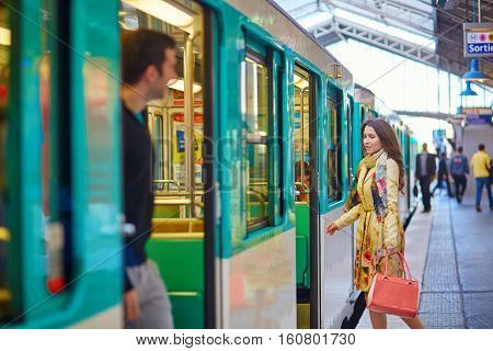 Young Beautiful Parisian Woman In Subway