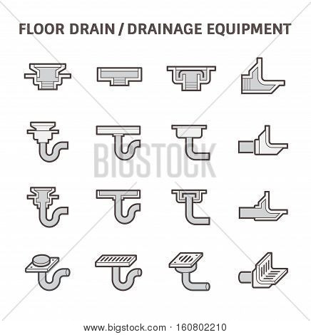 Floor drain or drainage equipment vector icon set.