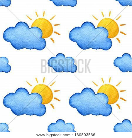 Weather watercolor pattern. Yellow suns and blue clouds. Bright beautiful pattern. Handpainted watercolor illustration. Isolated on white background