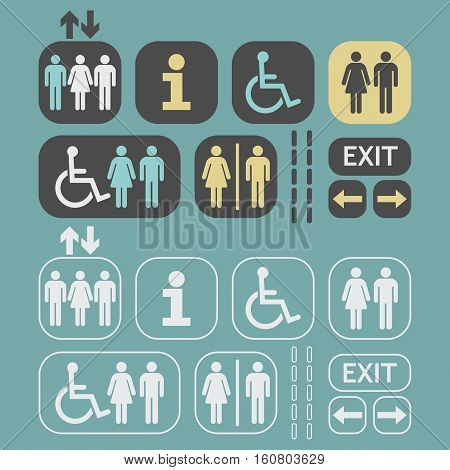 Gray, white, and yellow silhouette and line Man and Woman public access icons set on teal background