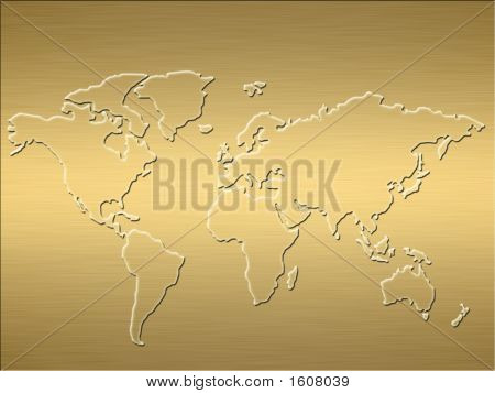 a large map of the world embossed into a finely brushed gold background poster