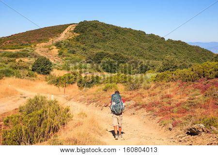 RABANAL SPAIN - AUGUST 05: Pilgrimn along the way of St. James on August 05 2016