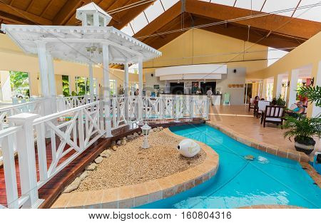 Cayo Coco island, Memories Carib resort, Cuba, June 26, 2016, amazing beautiful view of stylish interior hotel lobby with people in background