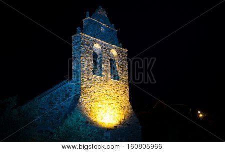 Nightview of the Parish Church of Santa Maria Magdalena of Riego de Ambros