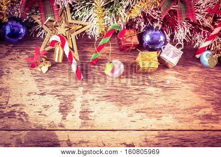 Chirstmas decorations on wood table for background