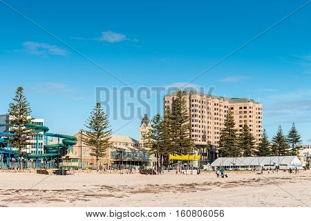 Glenelg Beach view with people on a bright day