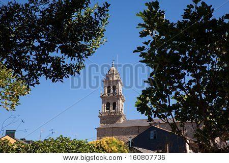 View of the belltower of the Basilica de La Encina in Ponferrada