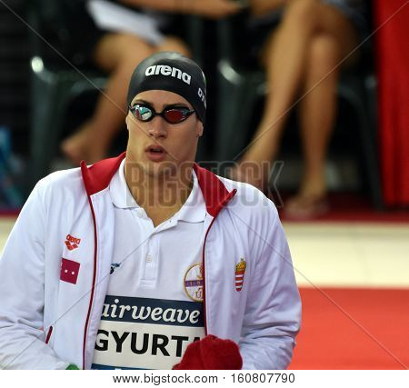 Hong Kong China - Oct 29 2016. Competitive swimmer Gergely GYURTA (HUN) before the Men's Individual Medley 400m Final. FINA Swimming World Cup Victoria Park Swimming Pool.