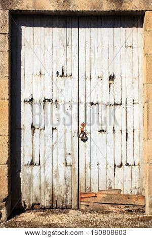 View of an old door of a Spanish house