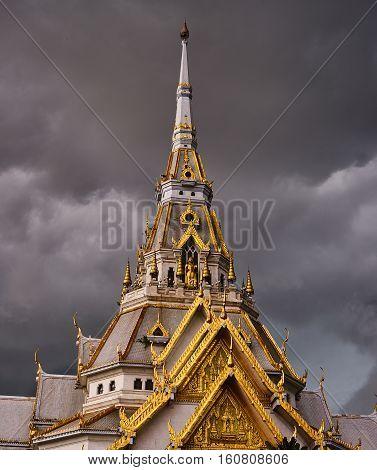 Sotorn temple in dark strom Chachuengsao , thailand