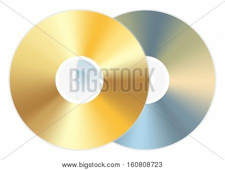 golden cd dvd disc back and front