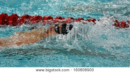 Hong Kong China - Oct 29 2016. Competitive swimmer Gergely GYURTA (HUN) swimming in the Men's Individual Medley 400m Final. FINA Swimming World Cup Victoria Park Swimming Pool.
