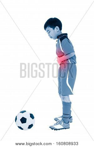 Youth Asian Soccer Player Stomachache. Full Body.