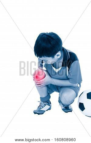 Youth Asian Soccer Player With Pain At Knee. Full Body.
